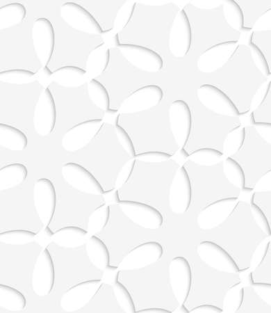 Abstract 3d geometrical seamless background. White simple flower pattern with cut out of paper effect. Vectores