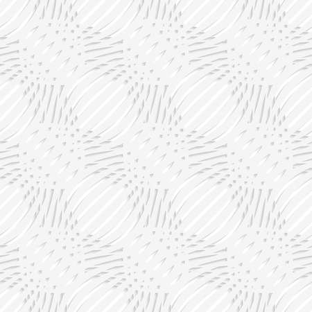 Abstract 3d geometrical seamless background. White simple wavy with small details perforated pattern with cut out of paper effect.