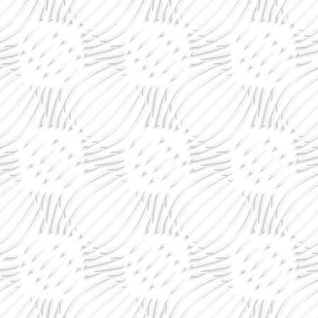 Abstract 3d geometrical seamless background. White simple wavy with small details pattern with cut out of paper effect.