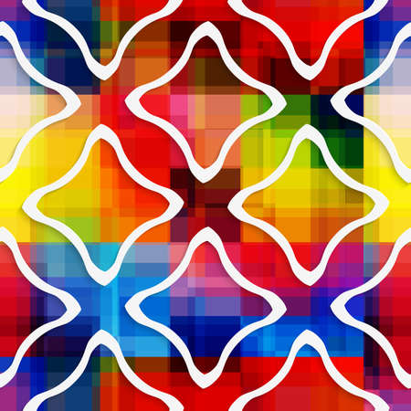 Abstract 3d geometrical seamless background. White wavy rectangles on rainbow background with cut out of paper effect.   Illustration