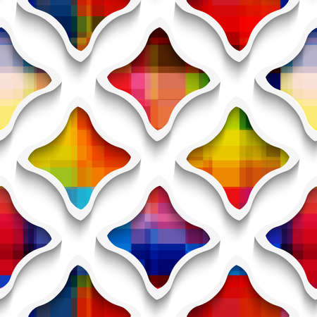 three layered: Abstract 3d geometrical seamless background. White wavy rectangles with rainbow on white with cut out of paper effect.