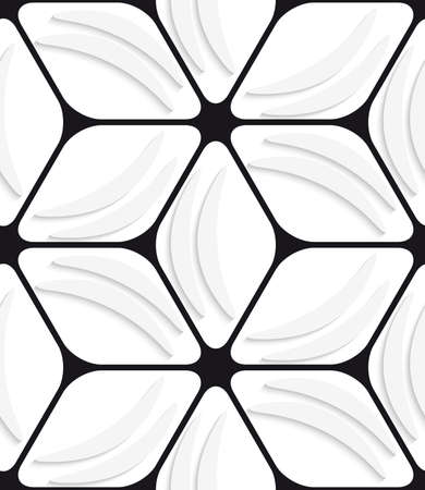 emboss: White banana shapes with cut out of paper effect and black hexagon net.