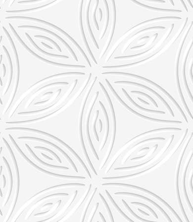 perforated: White geometrical flower like shapes perforated with cut out of paper effect.