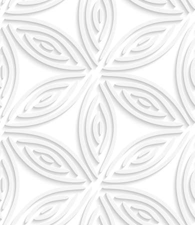 perforated: White geometrical flower like shapes with cut out of paper effect.