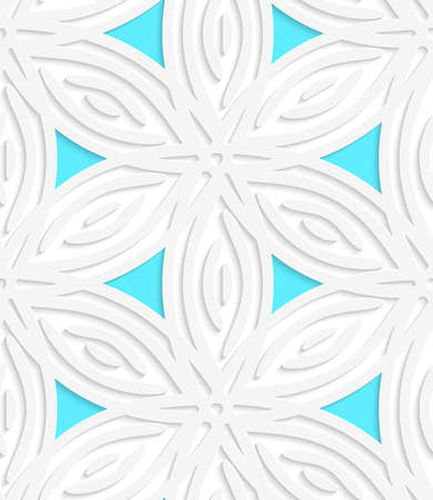 White geometrical flower like shapes with blue with cut out of paper effect.