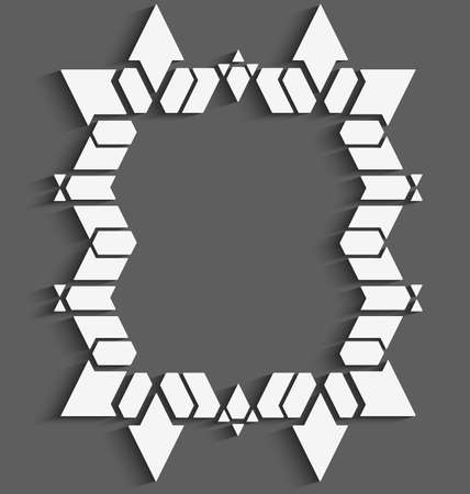 White 3d frame on gray with cut out of paper effect made of arrows, triangles and hexagons.