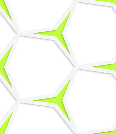 perforated: White hexagonal net and green stars with cut out of paper effect.  Illustration