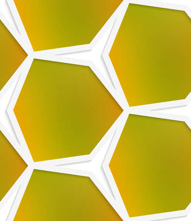White hexagonal net with cut out of paper effect and smooth colored background