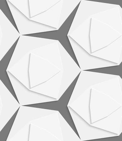 emboss: White hexagonal shapes layered with cut out of paper effect. Illustration