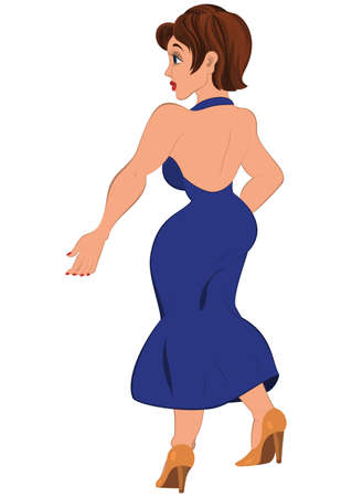 Illustration of cartoon female character isolated on white. Cartoon  woman in open back blue dress back view.      Ilustrace