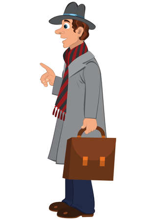 white coat: Illustration of cartoon male character isolated on white. Cartoon man in gray hat coat and briefcase.