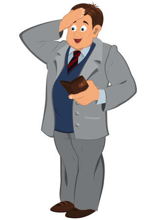 Illustration of cartoon male character isolated on white. Cartoon man in gray jacket looking in to the wallet.       Illusztráció