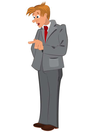 gray suit: Illustration of cartoon male character isolated on white. Cartoon man in gray suit and red tie.