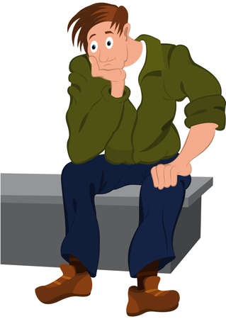 Illustration of cartoon people isolated on white. Cartoon man in green jacket and blue pants sitting on the bench.