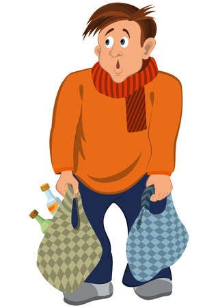 화이트 절연 만화 남성 문자의 그림. 오렌지 스웨터와 가방 스카프 남자 만화.