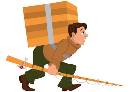 wooden box: Illustration of cartoon male character isolated on white. Cartoon man with fishing rod and carrying heavy wooden box.