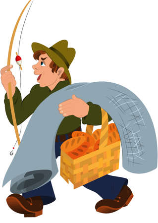 白で隔離の漫画の男性キャラクターのイラスト。釣りのロッドが灰色のカーペットとバスケット漫画男。