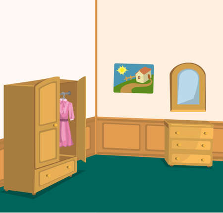 Illustration of retro interior with wardrobe, cabinet and picture on the wall