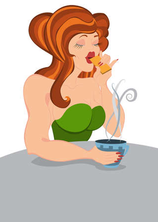Illustration of cartoon female character isolated on white. Retro hipster girl eats cookie.