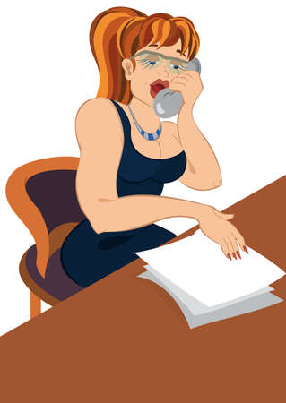 Illustration of cartoon female character isolated on white. Retro hipster girl talking on old fashioned phone looking into papers.       Ilustrace
