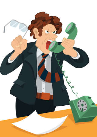 old phone: Illustration of cartoon male character isolated on white. Retro hipster man yelling in the old fashioned phone.