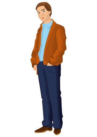 Illustration of retro young man isolated on white. Retro man in blue pants.