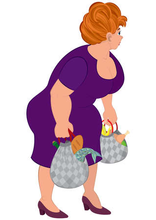Illustration of cartoon female character isolated on white. Cartoon fat woman in purple dress with groceries bags.      Ilustração