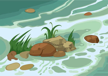 Illustration of cartoon landscape. Cartoon grass stones and brook.