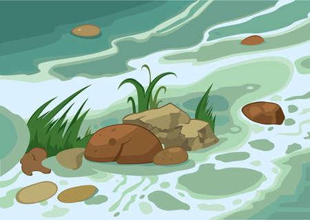 brook: Illustration of cartoon landscape. Cartoon grass stones and brook.