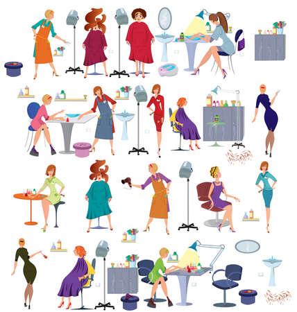 manicurista: Conjunto de caracteres femeninos de dibujos animados aislado en blanco. Gente de la historieta en peluquer�a, peluquer�as, manicura y clientes con muebles y accesorios.