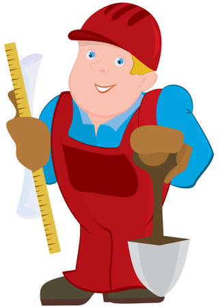 constrictor: Illustration of cartoon male character. Cartoon man in red constrictor uniform and with spade.      Illustration