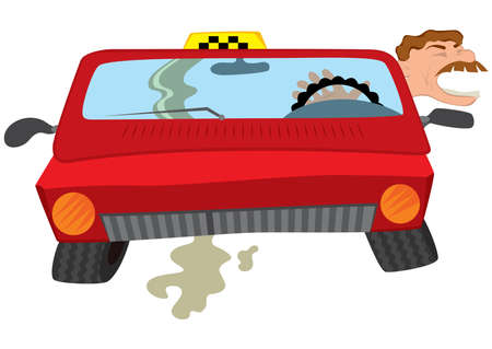 Illustration of cartoon male character. Cartoon man taxi driver creaming.
