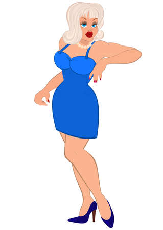 illustration of cartoon female character isolated on white. Cartoon sexy woman with white hair and in blue dress.