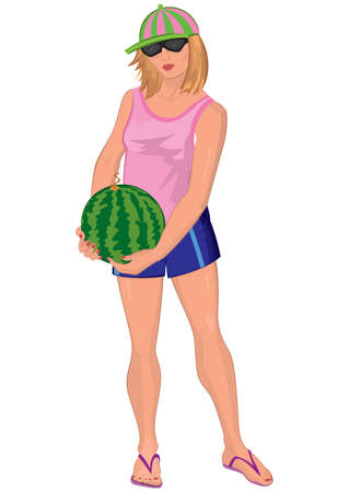watermelon woman: Illustration of cartoon female character isolated on white. Cartoon young woman in sunglasses with watermelon.