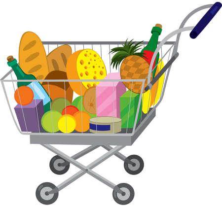 白で隔離される食料品のカートの漫画のイラスト。食料品店で食料品のカートをショッピングします。