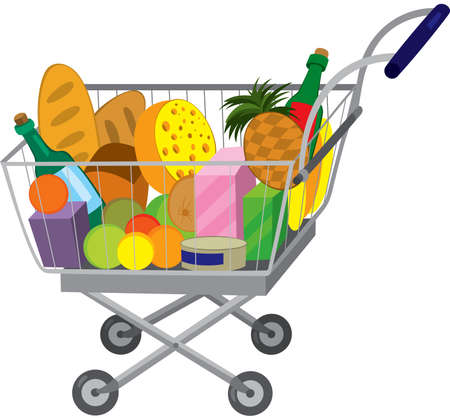 Illustration of cartoon shopping cart full of groceries isolated on white. Grocery store shopping cart with food items.