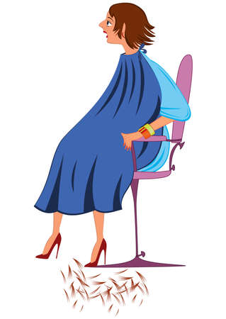 Illustration of cartoon female character isolated on white. Cartoon  woman in blue robe with new haircut.       向量圖像