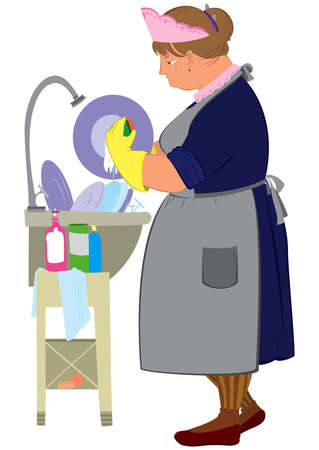 Illustration of cartoon female character isolated on white. Cartoon  woman in yellow gloves doing dishes.       Ilustração