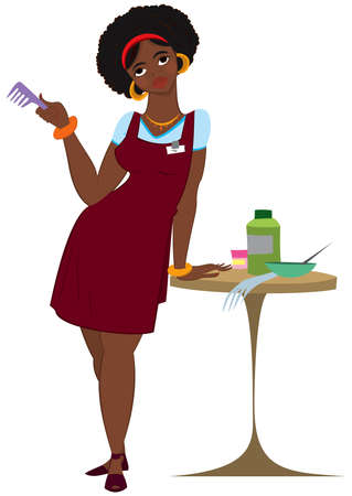 Illustration of cartoon female character isolated on white. Cartoon black woman hairdresser standing in red apron.