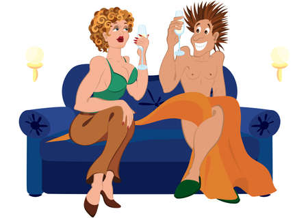 humor: Illustration of cartoon couple. Cartoon couple drinking champagne cocktail sitting on blue couch.