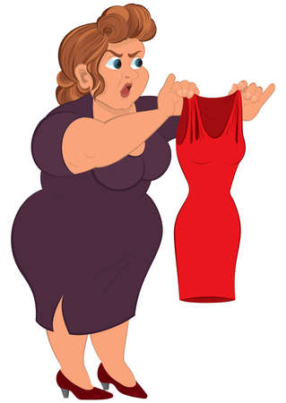 Illustration of cartoon female character isolated on white. Cartoon fat woman in purple dress holding small red dress.