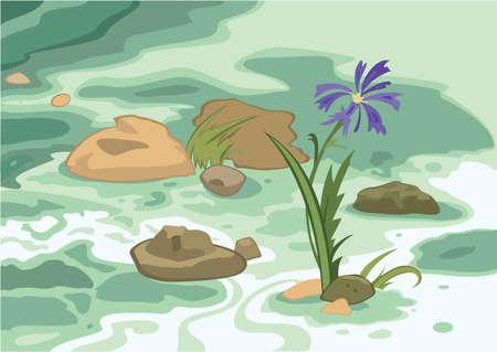 Illustration of cartoon landscape. Cartoon flowers stones and brook.      Ilustração