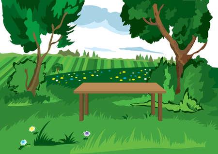 만화 풍경의 그림입니다. 만화 잔디 나무와 벤치입니다.