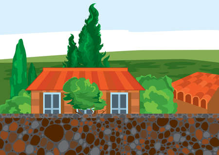 Illustration of cartoon landscape. Cartoon house trees and wall.