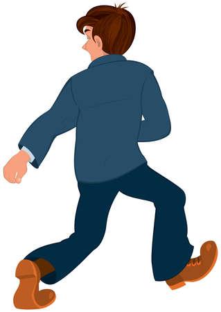 Illustratie van de cartoon mannelijke karakter geïsoleerd op wit. Cartoon man in blauwe jas en blauwe broek weglopen achteraanzicht. Stock Illustratie