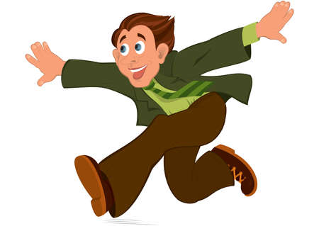 Illustration of cartoon male character isolated on white. Cartoon man in green jacket running with hands wide open.