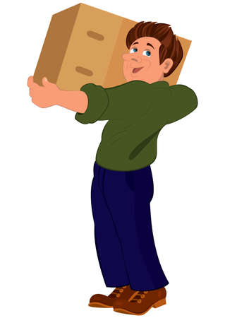 Illustration of cartoon male character isolated on white. Cartoon man in green sweater holding big box. 일러스트