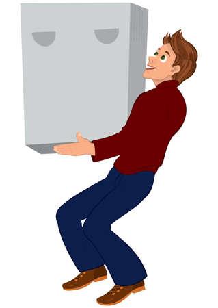 Illustratie van cartoon mannelijk karakter geïsoleerd op wit. Beeldverhaalmens die in rode sweater en bruine schoenen grote doos houden.