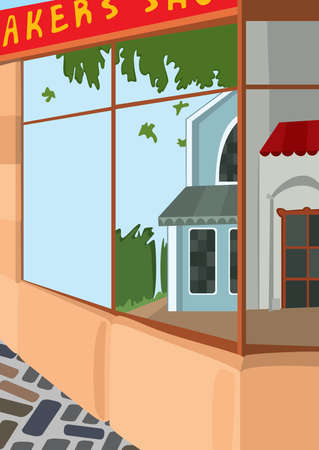 Illustration of cartoon landscape. Cartoon street front side of the store.
