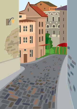 漫画の風景のイラスト。漫画の古い町の通り。